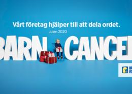 Bilden visar Bancancerfondens logotyp och ett sittande barn