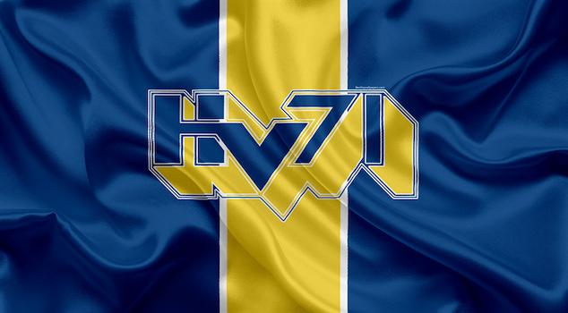 HV71 logotyp på flagga